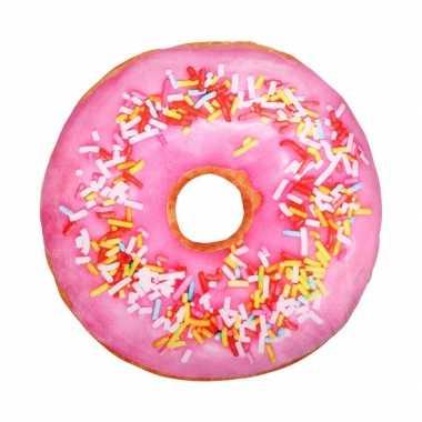Bed kussen gekleurde donut lichtroze knuffel