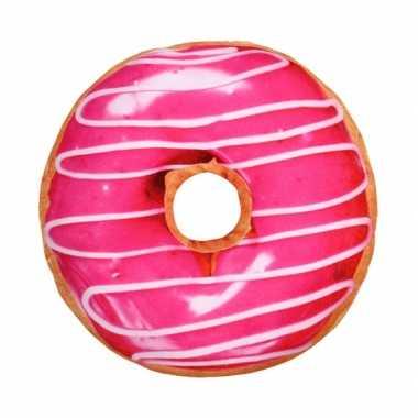 Bed kussen roze donut knuffel