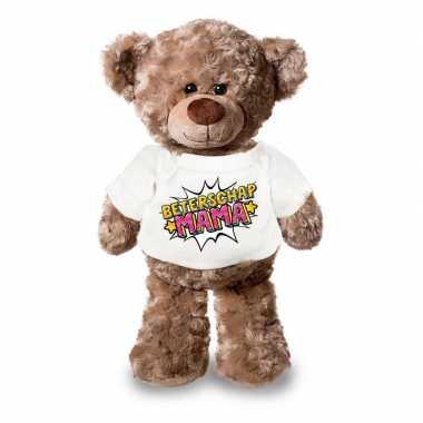 Beterschap mama pluche teddybeer knuffel wit t shirt