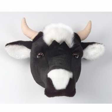 Decoratie kop koe aan muur  knuffel