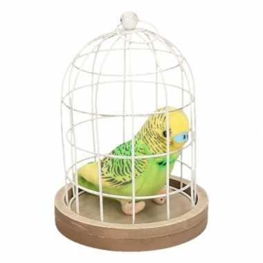 Decoratieve vogelkooi pluche parkiet knuffel