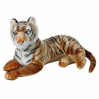 Grote bruine pluche tijger knuffel