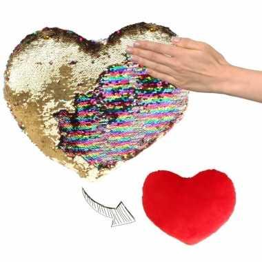 Hartjes kussen goud/rood metallic pailletten knuffel