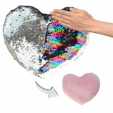 Hartjes kussen zilver/roze metallic pailletten knuffel