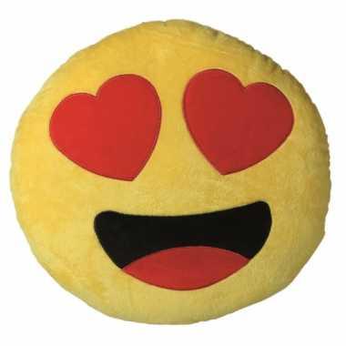 Hartjesogen emoji kussen knuffel