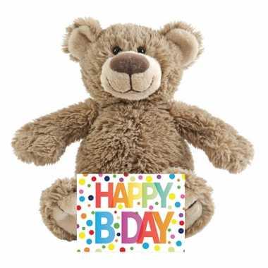 Kinder cadeau knuffelbeer happy birthday wenskaart