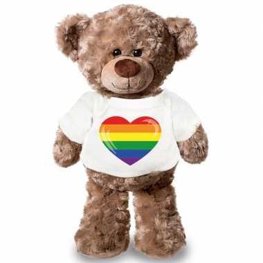 Knuffel teddybeer gaypride vlag hart t shirt