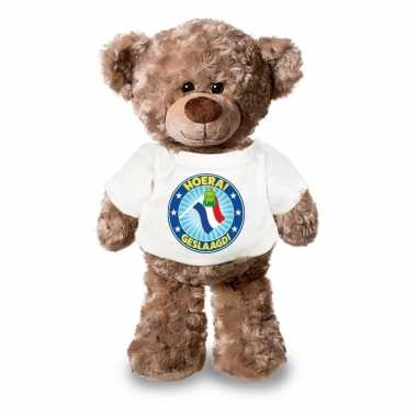 Knuffel teddybeer hoera geslaagd! vlag wit shirt