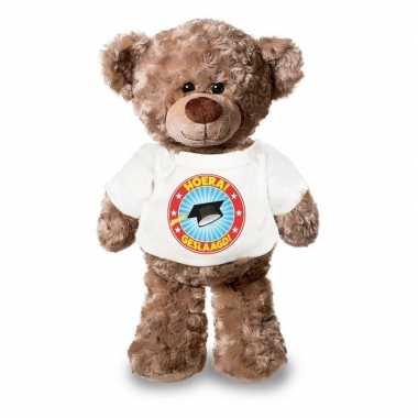 Knuffel teddybeer hoera geslaagd wit shirt
