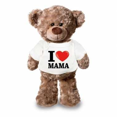 Knuffel teddybeer i love mama shirt