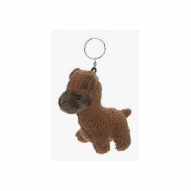 Pluche alpaca sleutelhanger bruin knuffel