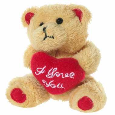 Pluche beertjes knuffel bruin een i love you hartje