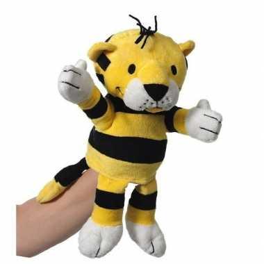 Pluche handpop tijger knuffel