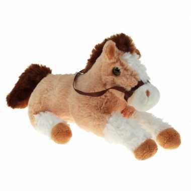 Pluche knuffel paard beige/wit