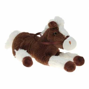 Pluche knuffel paard bruin/wit