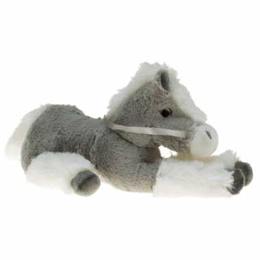 Pluche knuffel paard grijs/wit