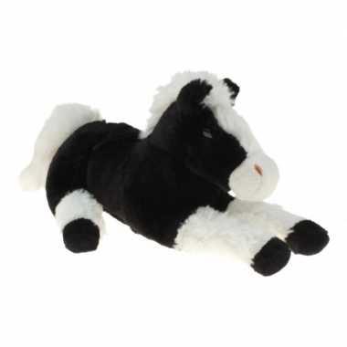 Pluche knuffel paard zwart/wit