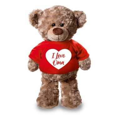 Pluche knuffel teddybeer i love oma hartje t shirt