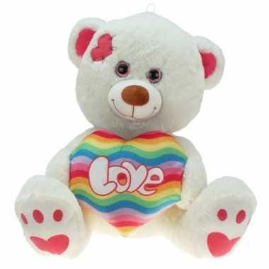 Pluche knuffelbeer regenboog hart