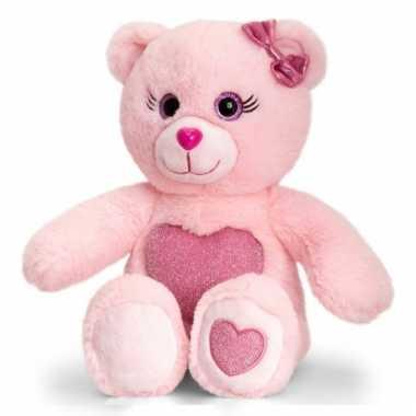 Roze zittende beer donker roze hart cm knuffel