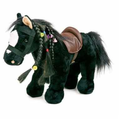 Speelgoed paard zwart geluid  knuffel