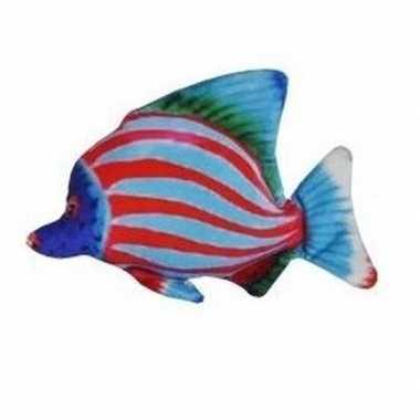 Tropische pluche knuffel vis blauw rood gestreept