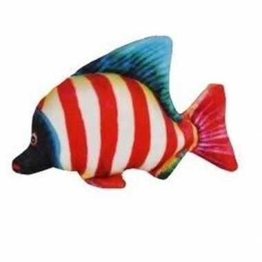 Tropische pluche knuffel vis wit rood gestreept