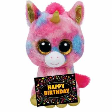 Verjaardag knuffel eenhoorn + gratis verjaardagskaart