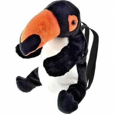 Vogels rugzakken/rugtassen knuffels toekan zwart