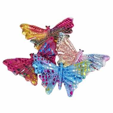 X gekleurde vlinder knuffeltjes