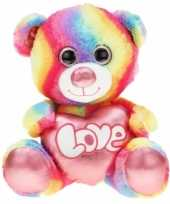 Grote pluche knuffelbeer regenboog