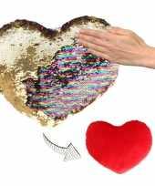 Hartjes kussen goud rood metallic pailletten knuffel 10124756