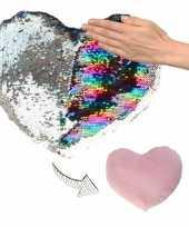 Hartjes kussen zilver roze metallic pailletten knuffel 10124755