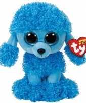 Huisdieren knuffels poedels blauw ty beanie mandy