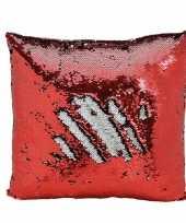 Kussen rood metallic pailletten knuffel