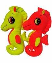 Pluche zeepaardje oranje knuffel