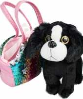 Pluche zwart witte cocker spaniel hond knuffel tas