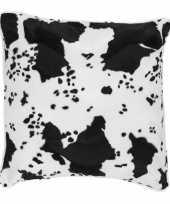Sierkussen fluweel koeienprint zwart wit knuffel