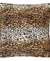 Sierkussen fluweel luipaardprint knuffel