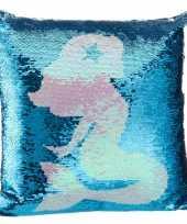 Sierkussen zeemeermin blauw pailletten knuffel